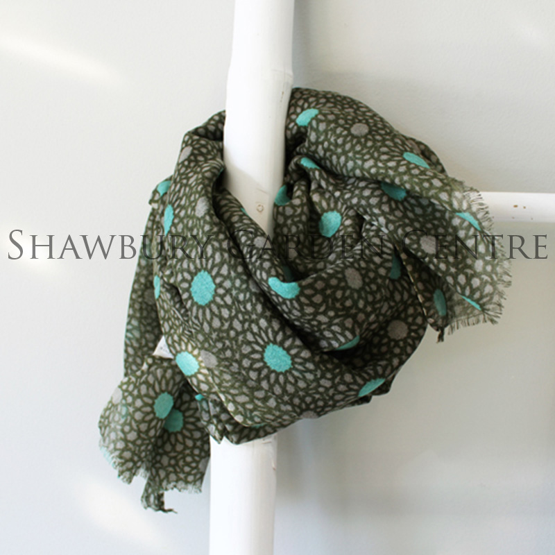 Picture of 100% Wool Olive Green & Teal Patterned Scarf