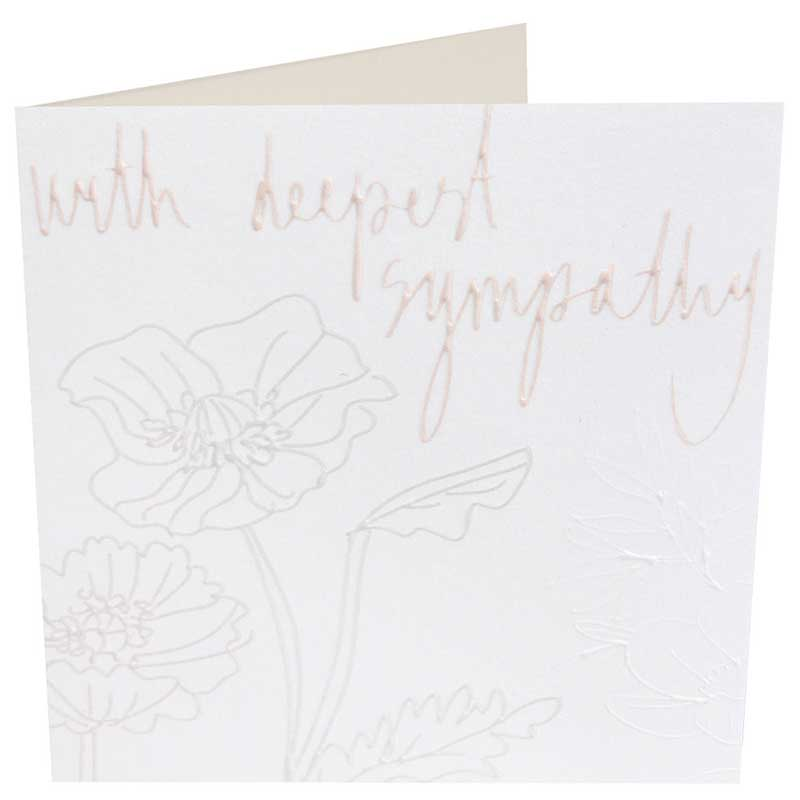 Picture of Caroline Gardner 'With Deepest Sympathy' embossed flowers card