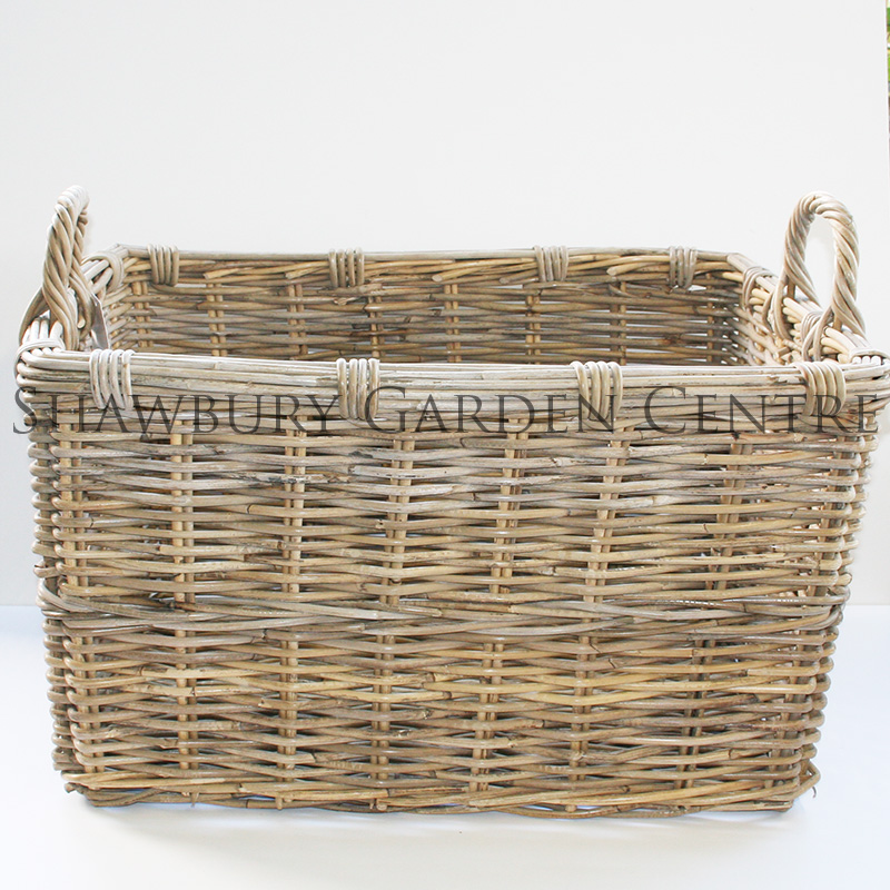 Picture of Woven Rectangular Log Basket with Handles