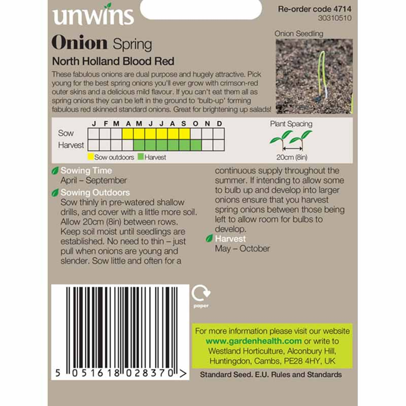 Picture of Unwins 'North Holland Blood Red' Spring Onion Seeds