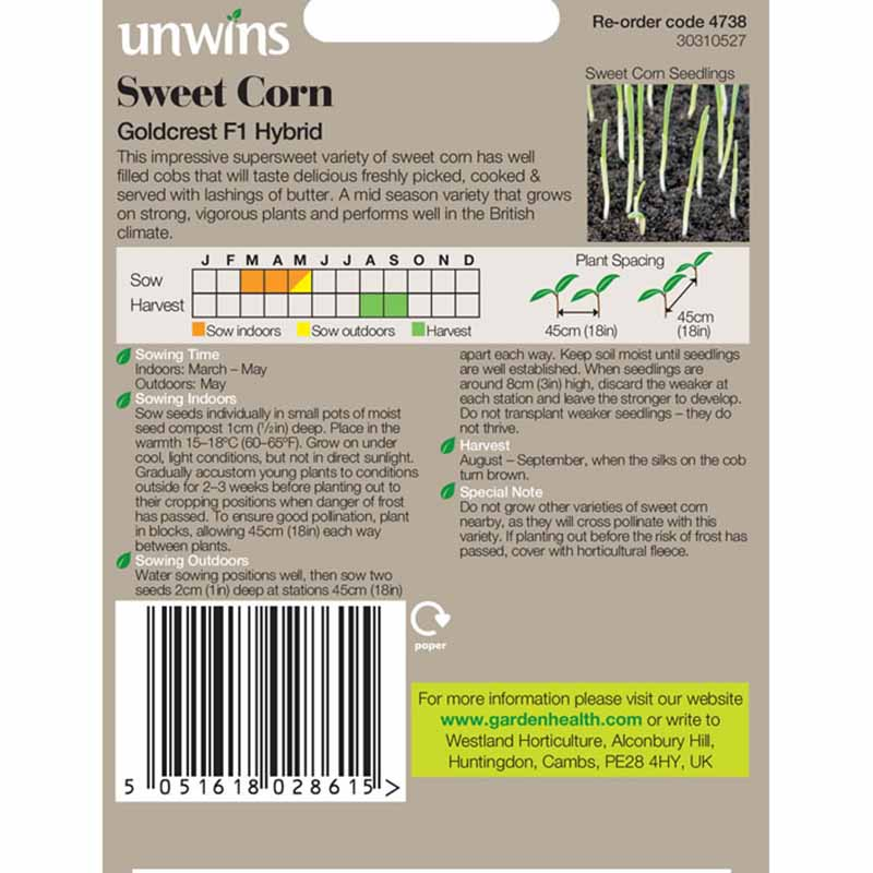 Picture of Unwins 'Goldcrest' Sweetcorn Seeds
