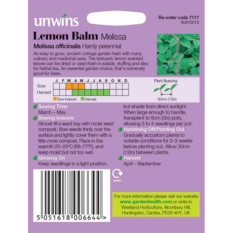 Picture of Unwins Lemon Balm Melissa Herb Seeds