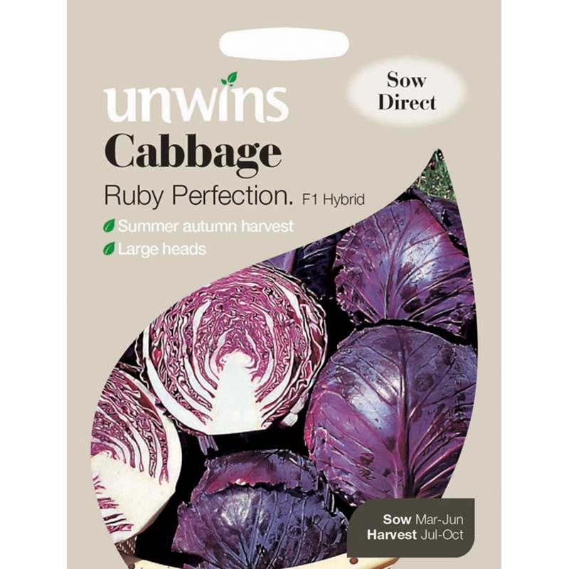Picture of Unwins Ruby Perfection Cabbage Seeds