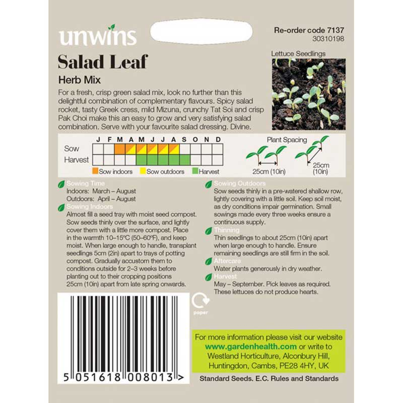 Picture of Unwins Salad Leaf Herb Mix Seeds