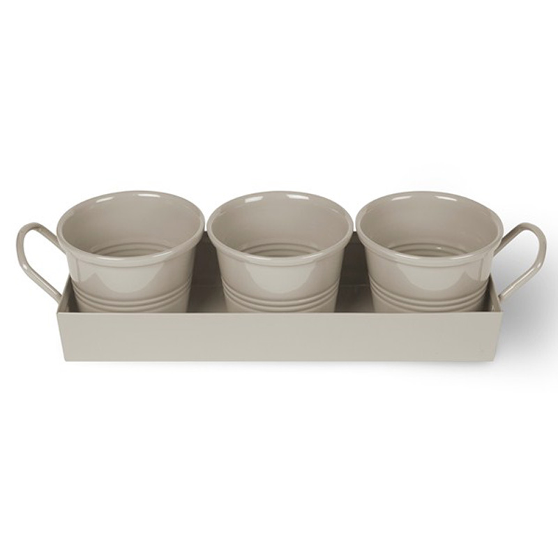 Picture of Garden Trading Set of 3 Herb Pots on Tray - Clay