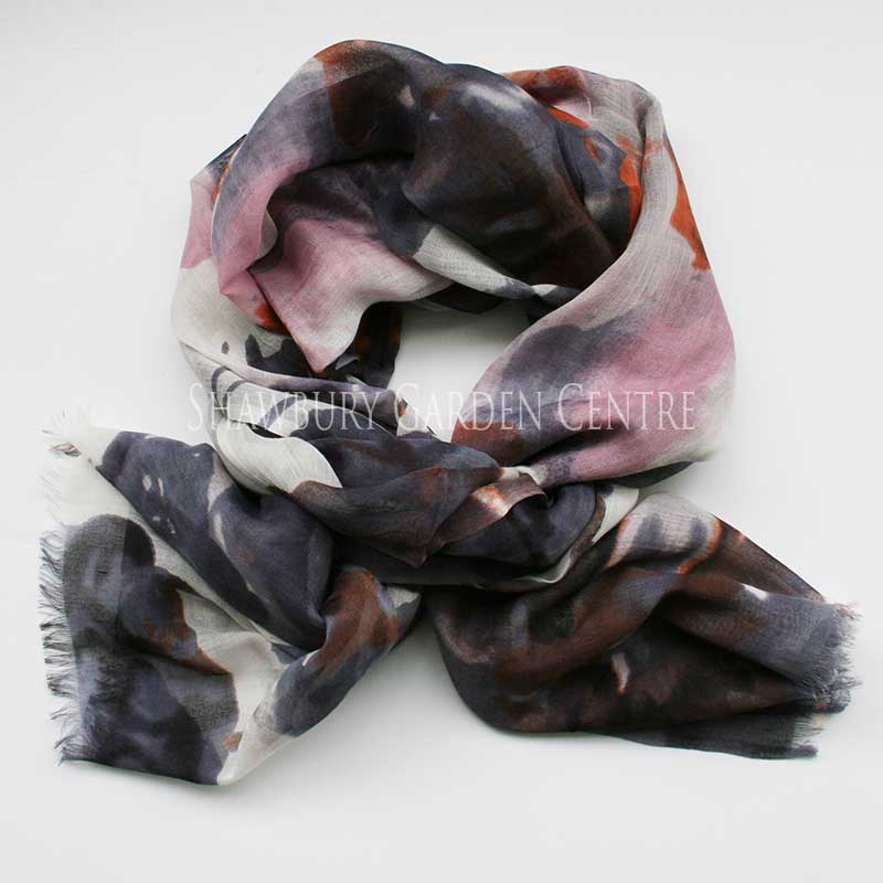Picture of Indigo Watercolour-Style Print Scarf