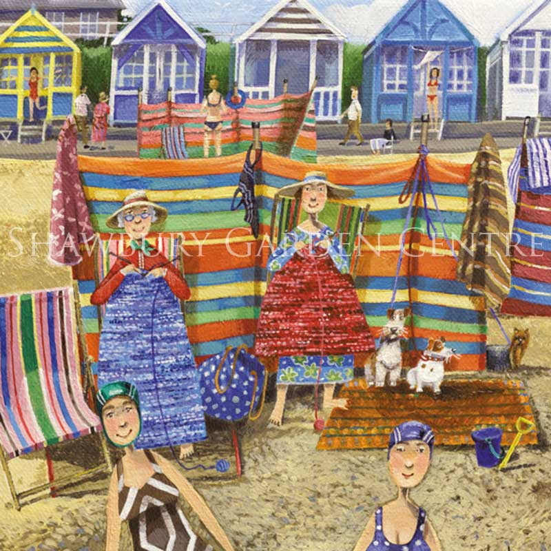 Picture of Green Pebble 'Beach Knitters' Card by Stephanie Lambourne