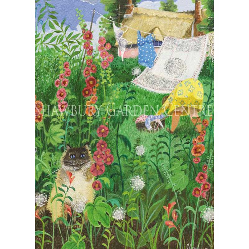 Picture of Green Pebble 'Among The Hollyhocks' Card by Stephanie Lambourne