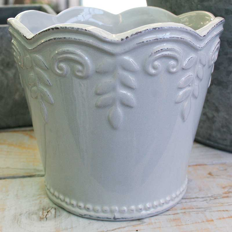 Picture of Gisela Graham Grey Ceramic Fluted & Embossed Pot Cover