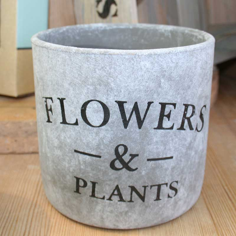 Picture of 'Flowers & Plants' Stone Effect Plant Pot Cover