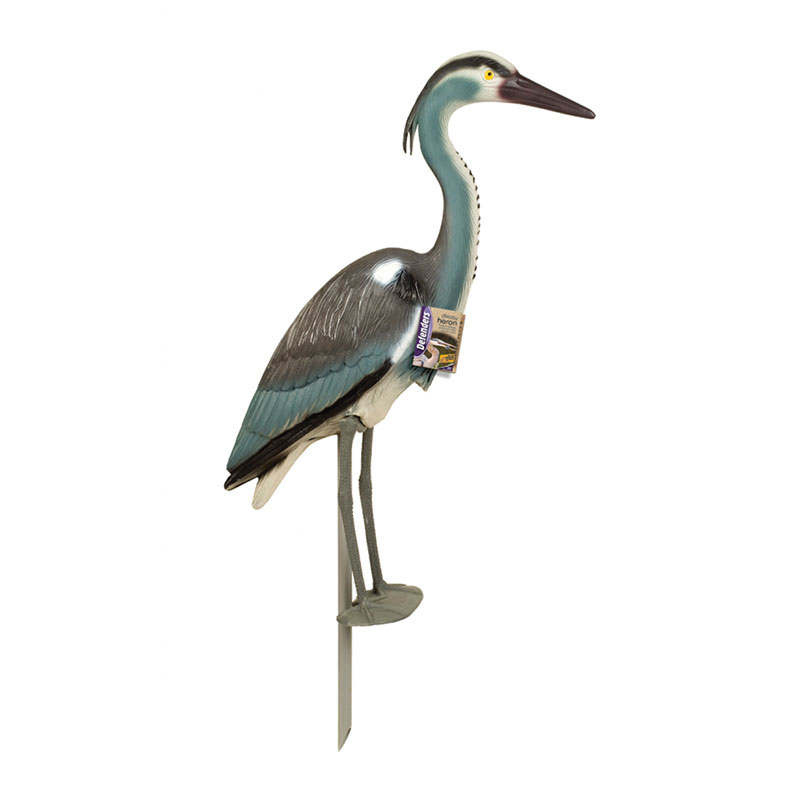 Decoy heron for Ornamental fish pond maintenance