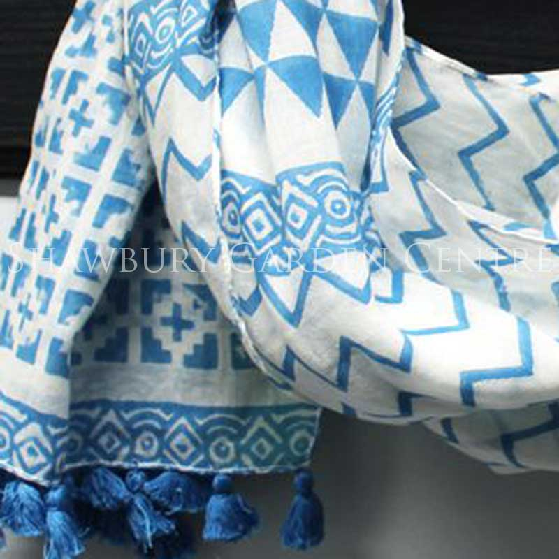 Picture of Blue & White Pattern Scarf with Tassles