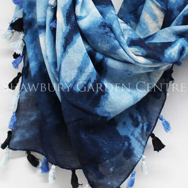 Picture of Blue Square Tie Dye Cotton Scarf