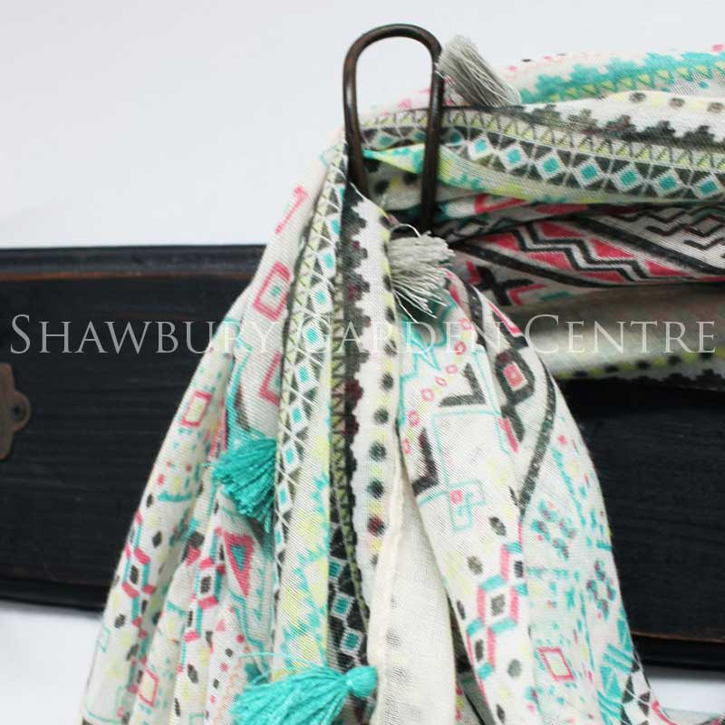 Picture of Mint Green & Coral Pattern Square Scarf with Tassels