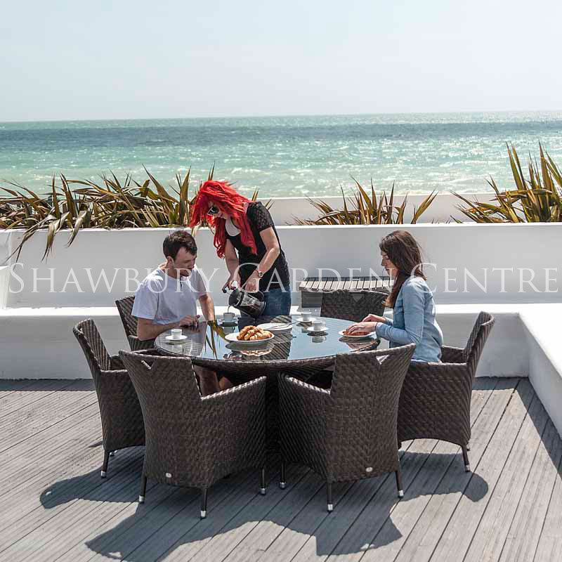 Picture of Alexander Rose Ocean Wave Round Table with Glass Top