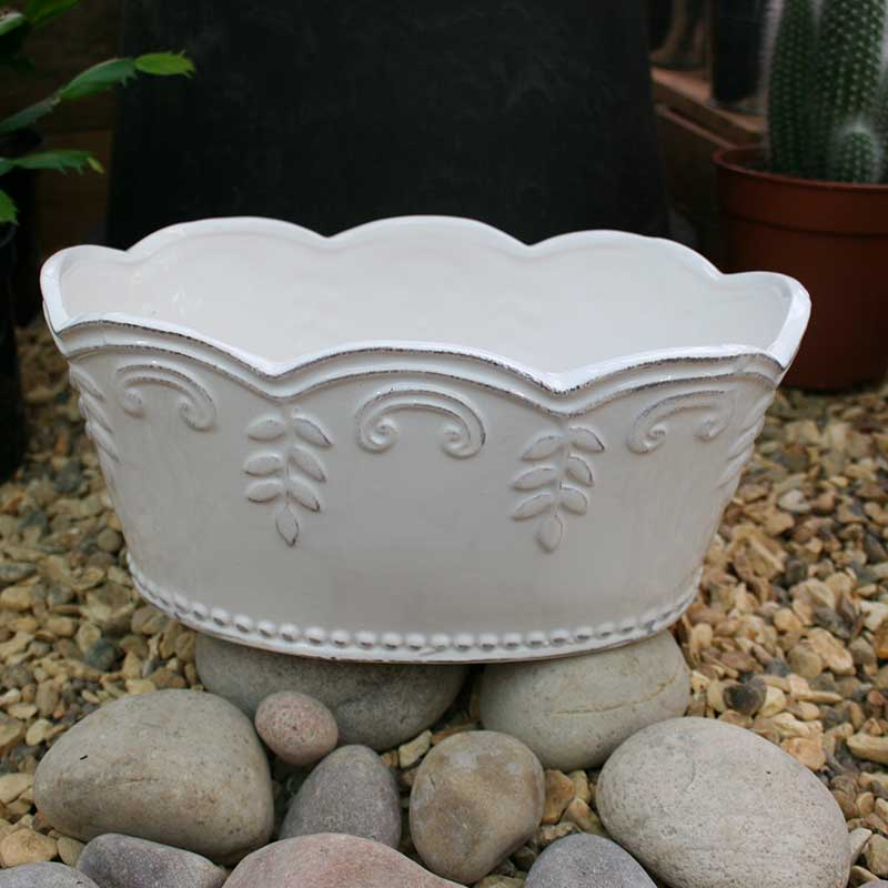 Picture of Gisela Graham White Ceramic Fluted & Embossed Oval Pot Cover