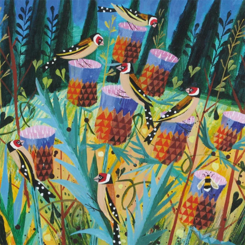 Picture of 'Goldfinches and Thistles' Card Mary Sumner