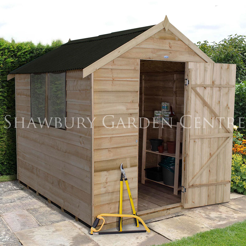 picture of forest garden 6 x 8 overlap shed pressure treated onduline roof single - Garden Sheds 6 X 8