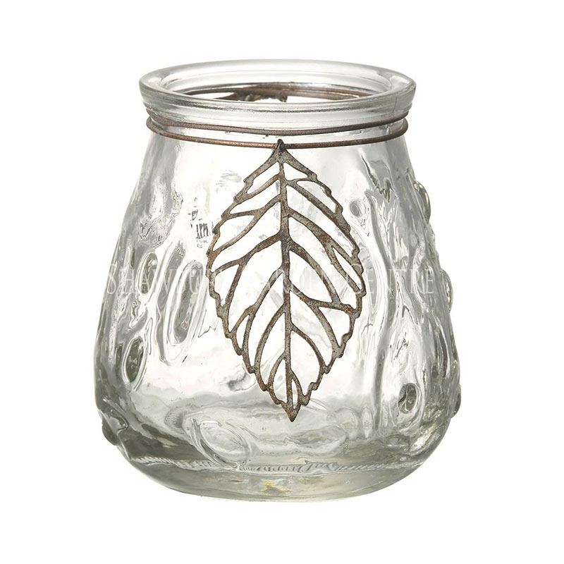 Picture of Parlane Glass T Light Holder with Leaf