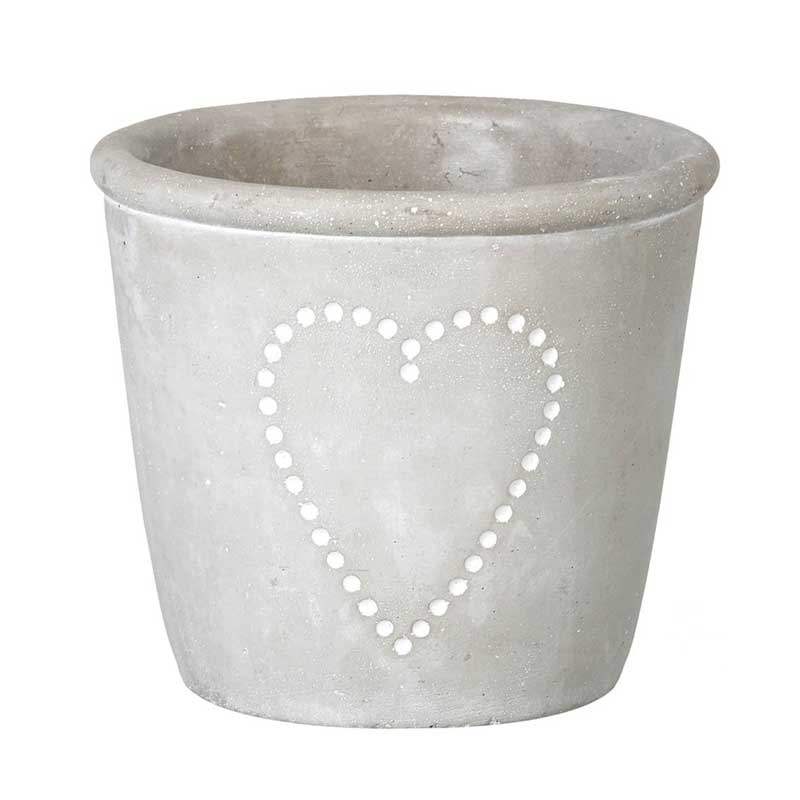 Picture of Parlane Grey Concrete Pot with Heart Decoration