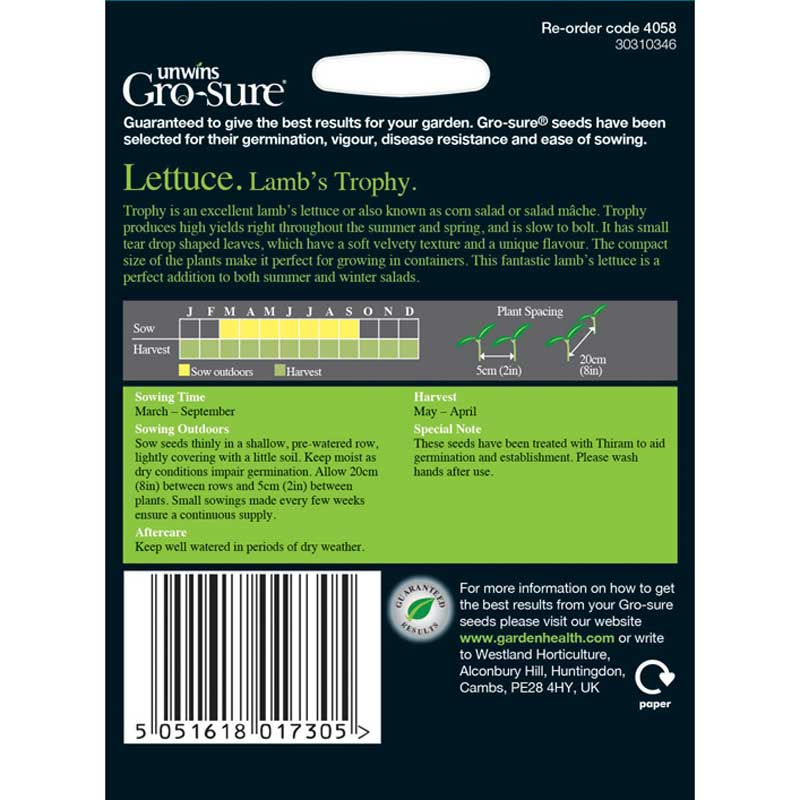 Picture of Unwins Gro-Sure® Lamb's Trophy Lettuce Seeds