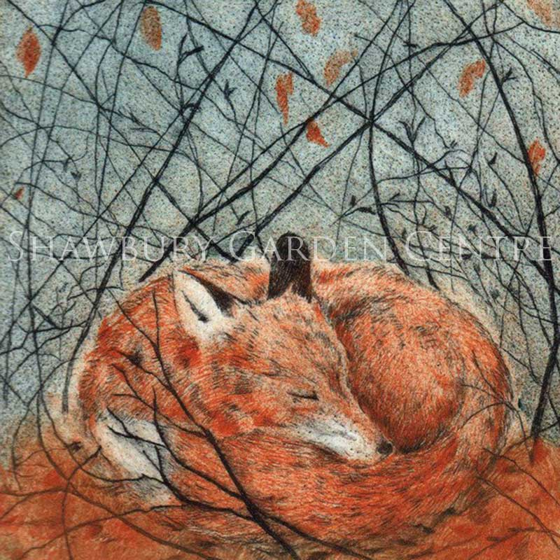 Picture of Green Pebble Resting Fox by Sarah Bays - Blank Inside Card