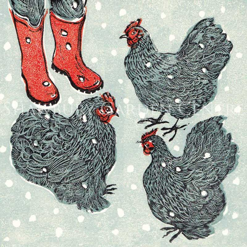 Picture of Green Pebble Three French Hens by Vanessa Lubach - Blank Inside Card
