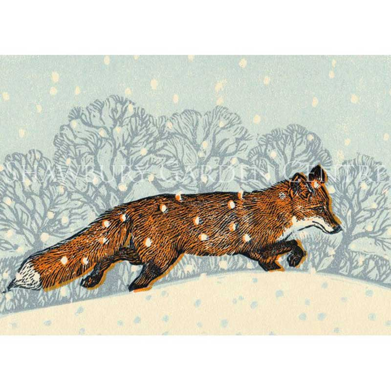Picture of Green Pebble Fox in Winter by Vanessa Lubach - Blank Inside Card