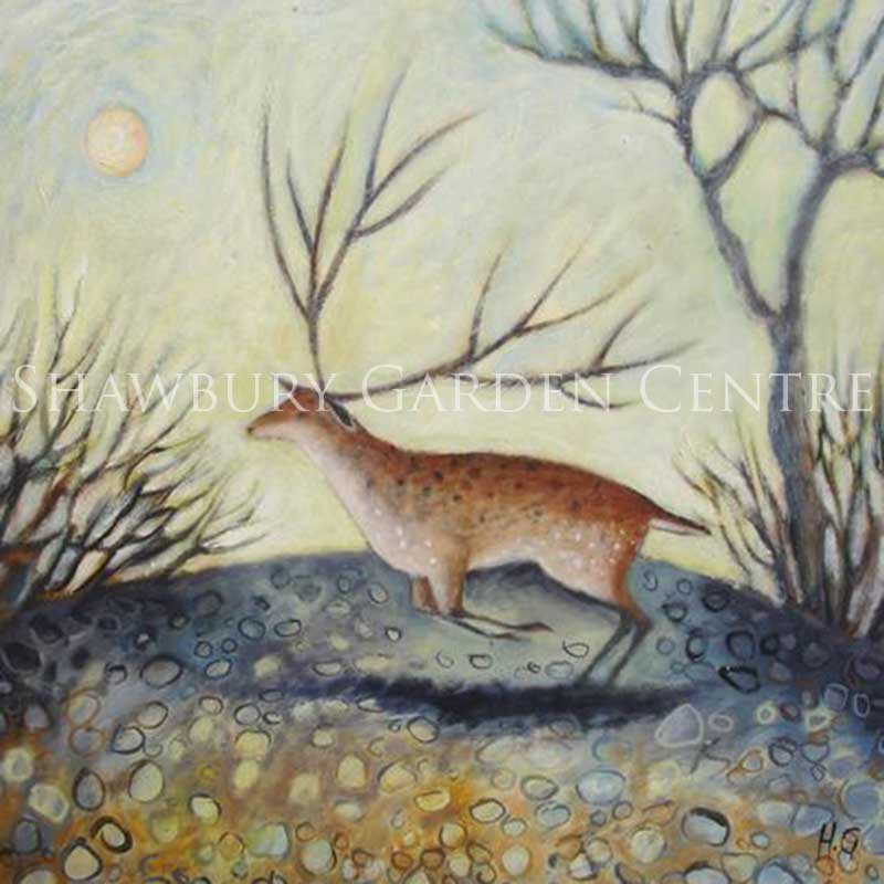Picture of Green Pebble Stag on a Misty Morning Card by Hannah Giffard