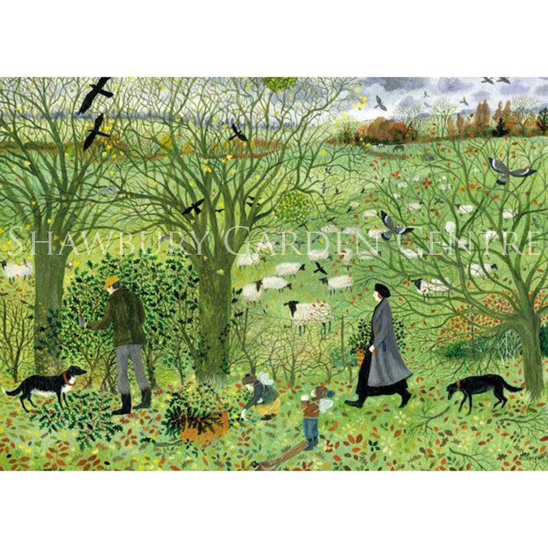 Picture of Green Pebble Collecting Some Greenery Card by Dee Nickerson