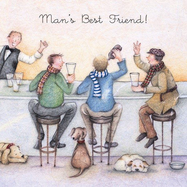 Picture of Berni Parker 'Man's Best Friend' Blank Inside Greetings Card