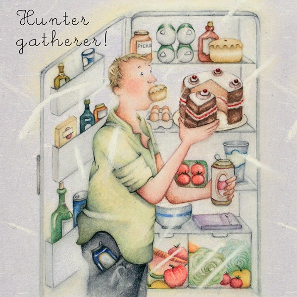 Picture of Berni Parker 'Hunter Gatherer' Blank Inside Greetings Card