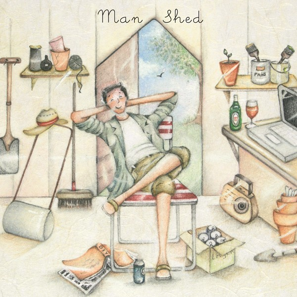 Picture of Berni Parker 'Man Shed' Blank Inside Greetings Card