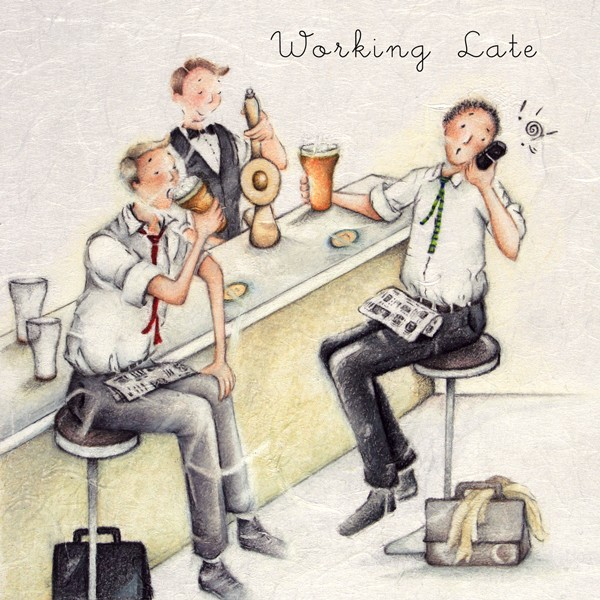 Picture of Berni Parker 'Working Late' Blank Inside Greetings Card