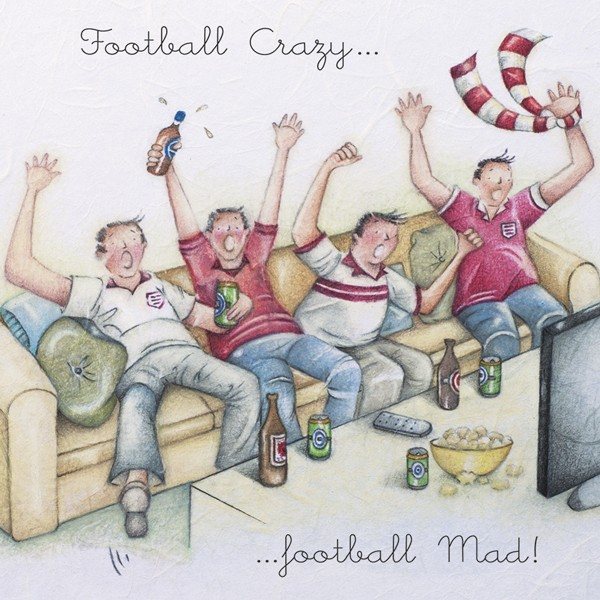 Picture of Berni Parker 'Football Crazy...Football Mad!' Blank Inside Greetings Card