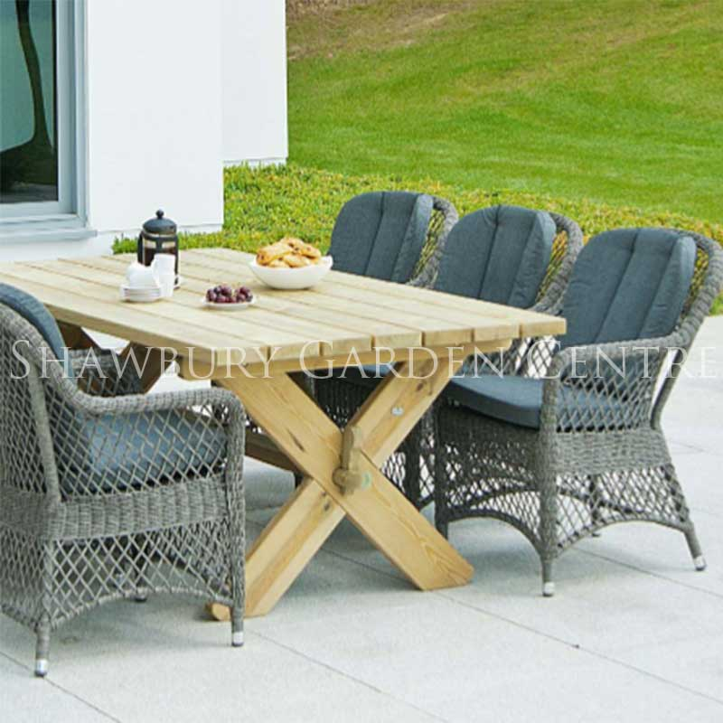 Garden Table And Chairs Set Next: Alexander Rose Pine Table & Six 'Rattan' Chairs Garden Set