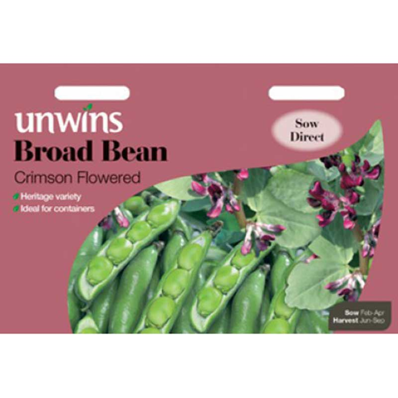 Picture of Unwins 'Crimson Flowered' Broad Bean Seeds
