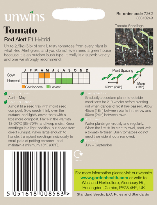 Picture of Unwins 'Red Alert' Tomato Seeds