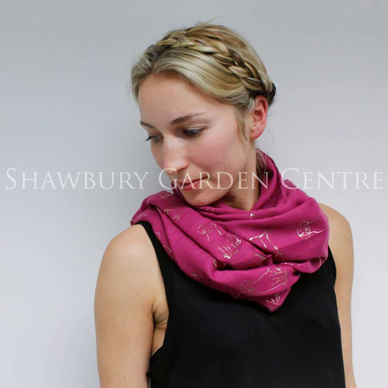 Picture of Pink Scarf with Silver Dog Print
