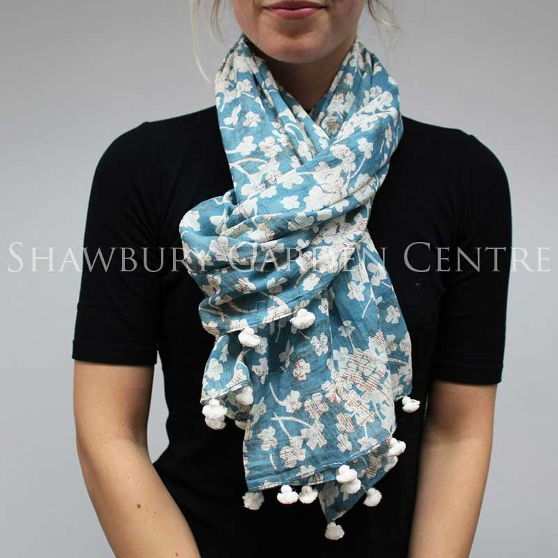 Picture of Vintage Blue Floral Pattern Scarf with Tassels