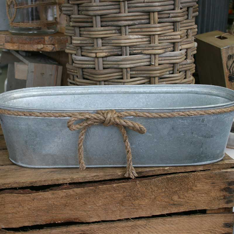 Picture of OASIS Round Metal Trough with Jute Bow