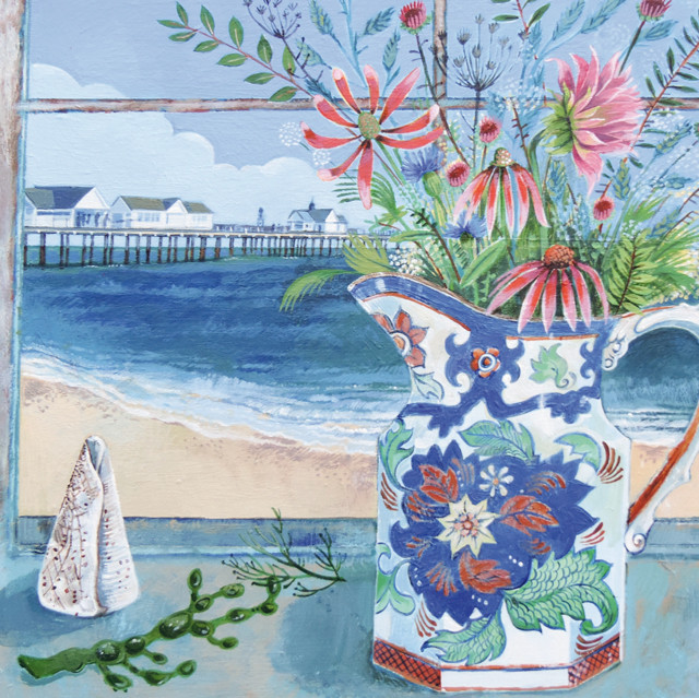 Picture of Green Pebble 'Seaside Memories' by Stephanie Lambourne Greetings Card