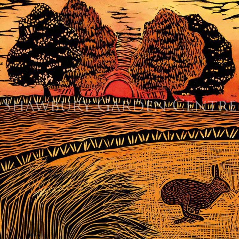 Picture of Green Pebble 'Hare at Sunset' by Jane Dignum - blank inside greetings card