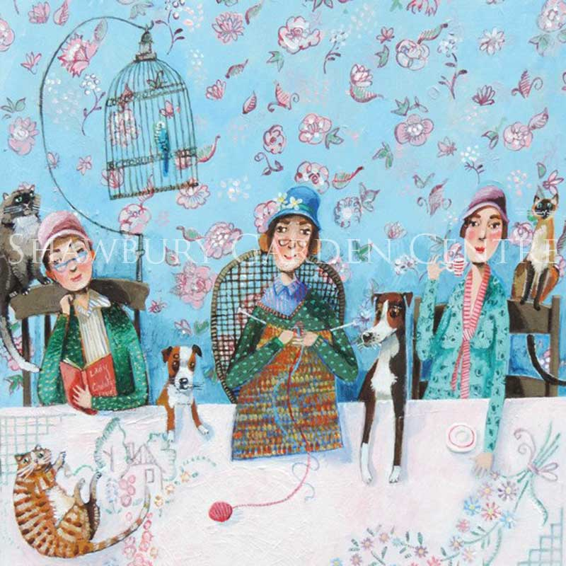 Picture of Green Pebble 'Favourite Pastimes' by Stephanie Lambourne - greetings card