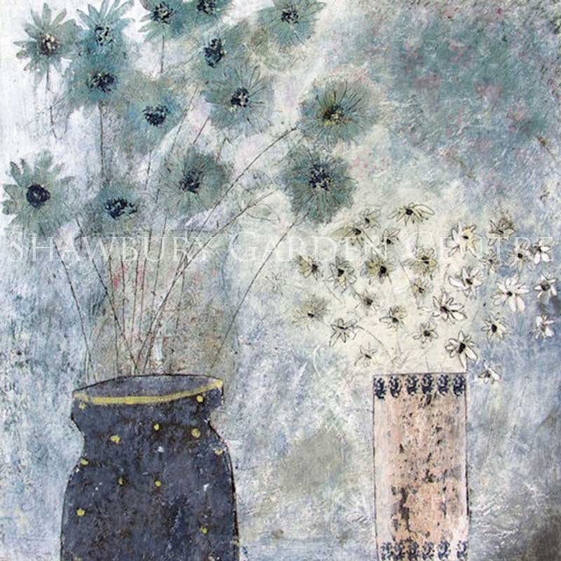 Picture of Green Pebble 'Flowers at Night' by Hannah Hann - blank inside greetings card