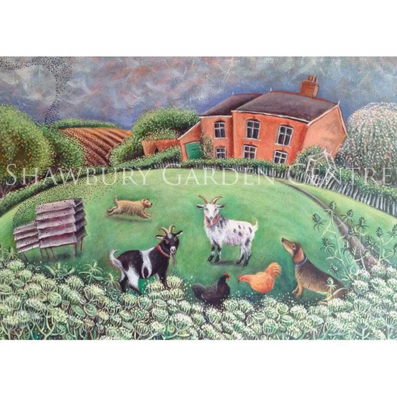 Picture of Green Pebble 'The Smallholding' by Hannah Giffard - blank inside greetings card