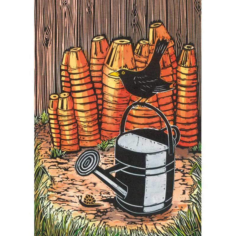 Picture of Green Pebble 'Old Pots and Watering Can' by Jane Dignum - greetings card
