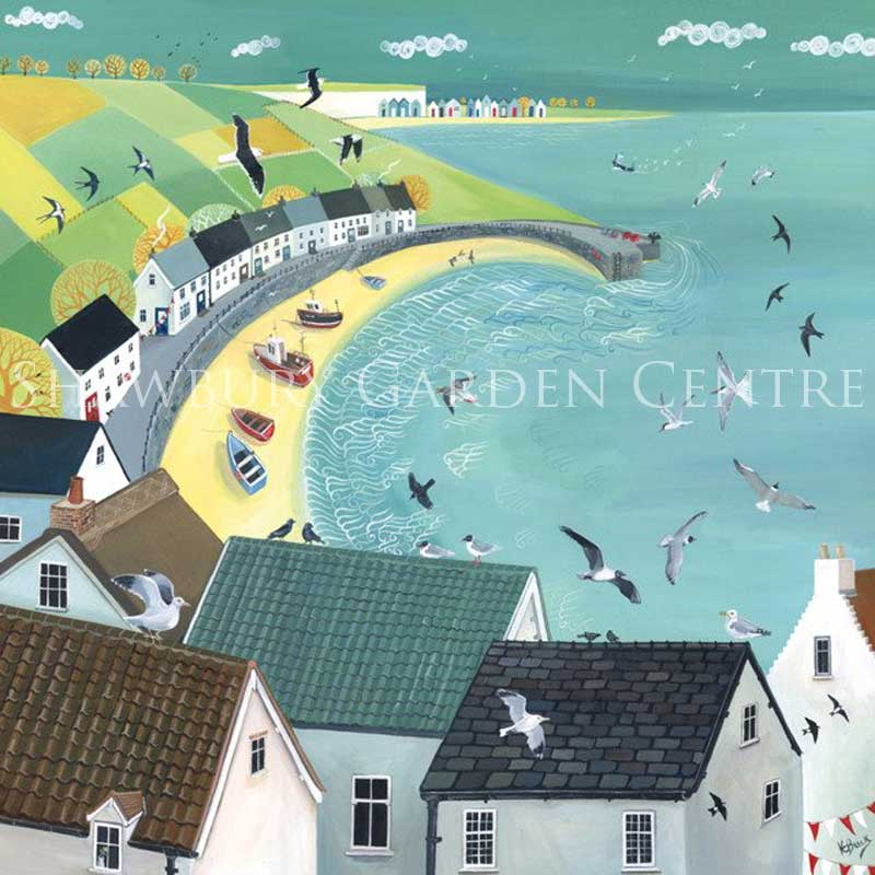 Picture of Green Pebble 'Harbour View' by Kerry Buck - blank inside card
