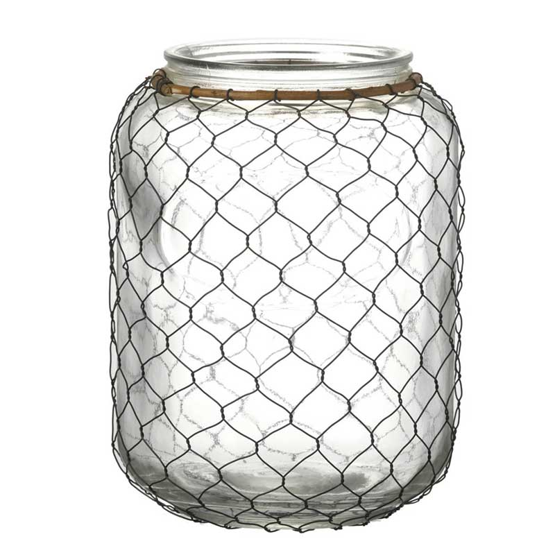 Picture of Parlane Glass Candle Holder / Storm Lantern with Wire Mesh Cover
