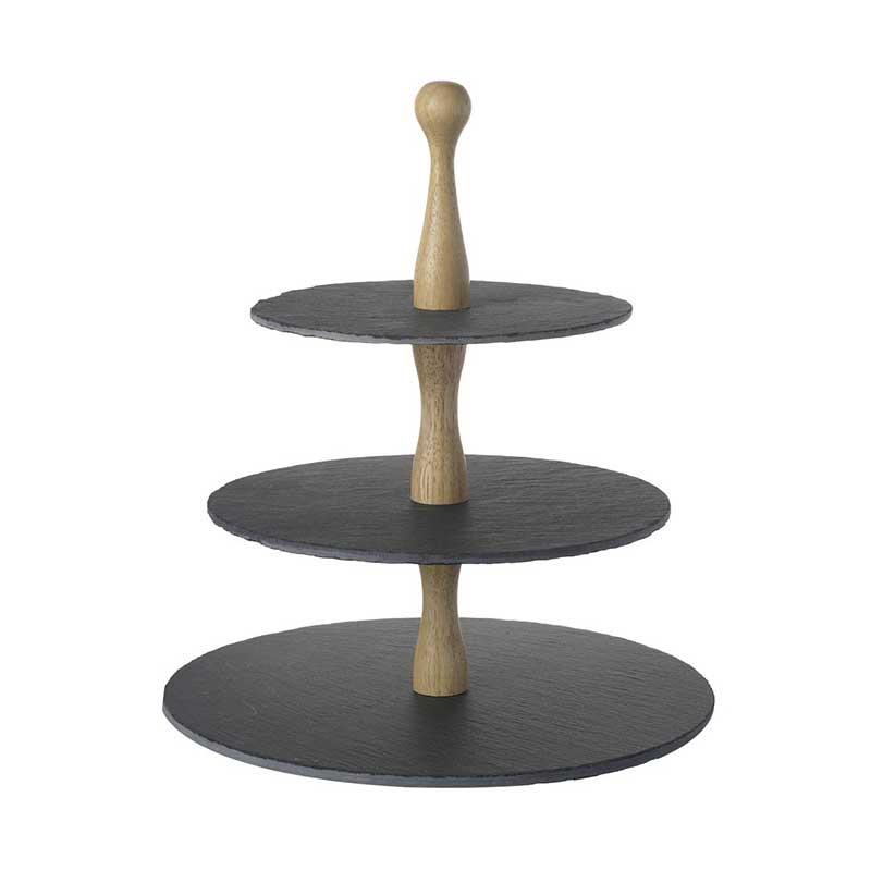 Picture of Parlane Wooden Cake Stand with 3 Slate Tiers